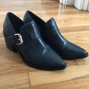 ALLSAINTS leather ankle bootie gray/black US5.5-6